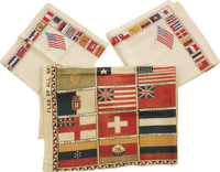 1876 Centennial Flag Banner and Flag Themed Handkerchiefs. A colorful lot consisting of two identical silk handkerchiefs...