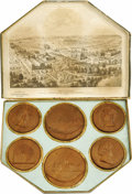 General Historic Events:Expos, Set of Six 1876 Centennial Exposition Wooden Medallions manufactured by the Ornamental Wood Co. This set is complete and in ...