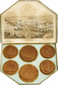 Set of Six 1876 Centennial Exposition Wooden Medallions manufactured by the Ornamental Wood Co. This set is complete and...