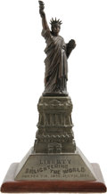 General Historic Events:Expos, 1885 Dated Statue of Liberty Souvenir. This nicely made two-part metal souvenir celebrates the coming dedication of the stat...