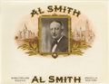 "Antique Stone Lithography:Cigar Label Art, Al Smith 1920s Cigar Label by W. Mulford & Son ofUnadilla, New York. This 9"" x 7"" printed inner label withembossed..."