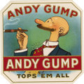 "Antique Stone Lithography:Cigar Label Art, Andy Gump Tops 'Em All Cigar Label. An amusing lithographed 4.75"" x 4.75"" outer label with gold embossed highlights...."