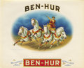 Antique Stone Lithography:Cigar Label Art, Ben-Hur Cigar Label by Consolidated LithographingCorporation of Brooklyn. A stunning lithographed andgold-embossed...