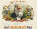 "Antique Stone Lithography:Cigar Label Art, Bryant 1899 Sample Cigar Label by Schmidt & Co of NewYork. A lithographed 7.5"" x 6"" inner label with the same desig..."