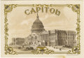 """Antique Stone Lithography:Cigar Label Art, Capitol Architectural Cigar Label by F. Heppenheimer's SonsLitho. of New York. A brown and black duotone 7"""" x 4.75""""..."""