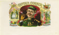 "Antique Stone Lithography:Cigar Label Art, Captain Corker Military Cigar Label by George Schlegel ofNew York. A full color lithographed 10"" x 6"" inner label h..."