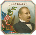 "Antique Stone Lithography:Cigar Label Art, President Grover Cleveland Cigar Label by F. Herpenheimer'sSons of New York. A patriotic-theme lithographed 4.5"" x ..."