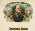 """Antique Stone Lithography:Cigar Label Art, Commodore Elliott Cigar Label. A naval-theme lithographed 7""""x 6.5"""" inner label with gold-embossed highlights and tr..."""