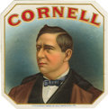 "Antique Stone Lithography:Cigar Label Art, Cornell Cigar Label from Sig. C. Mayer & Co., Inc. Alithographed 4.25"" x 4.25"" outer label with the portrait of Alo..."