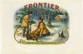 "Antique Stone Lithography:Cigar Label Art, Frontier Hunting Cigar Label by H.B. Grauley. Full colorlithographed 9"" x 6"" inner label with gold-embossed highlig..."