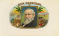 "Antique Stone Lithography:Cigar Label Art, Gen. Harrison Cigar Label. A lithographed 10"" x 6"" inner label picturing our 23rd president. Benjamin Harrison, gran..."