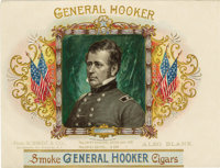 "General Hooker 1896 Sample Cigar Label by Schmidt & Co. of New York. A lithographed 7.75"" x 6"" inner label..."
