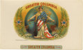 """Antique Stone Lithography:Cigar Label Art, Greater Columbia Cigar Label by American Lithographic Co.Full color lithographed 10"""" x 6"""" inner label copyrighted 1..."""