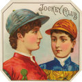 """Antique Stone Lithography:Cigar Label Art, Jockey Club Horse Racing Cigar Label. Full color lithographed 4.25"""" x 4.25"""" outer label with clipped corners as made..."""