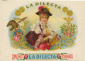 """Antique Stone Lithography:Cigar Label Art, La Dilecta Cigar Label by L. E. Neuman & Co. Full colorlithographed 8.5"""" x 6"""" inner label with gold-embossed exposi..."""