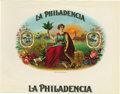 "Antique Stone Lithography:Cigar Label Art, La Philadencia Cigar Label. Full color lithographed 9"" x 7""inner label with gold-embossed accents. A classical fema..."