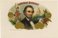 "Antique Stone Lithography:Cigar Label Art, Abraham Lincoln Bouquet Cigar Label by B. Newmark & Co.A lithographed 9"" x 6"" inner label picturing President Abrah..."