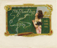 "My Darling Cigar Label. Full color lithographed 7.5"" x 5.75"" inner label with gold-embossed floral border. A s..."