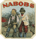 "Antique Stone Lithography:Cigar Label Art, Nabobs Black Americana Cigar Label by S.R. Kocher,Wrightsville, Pennsylvania. A full color lithographed 4.25"" x4.2..."
