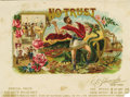 "Antique Stone Lithography:Cigar Label Art, No Trust Political Sample Cigar Label by O. L. Schwencke, New York. Full color lithographed 8"" x 5.75"" inner label w..."