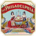 "Antique Stone Lithography:Cigar Label Art, The Philadelphia Cigar Label. Full color lithographed 4.5"" x4.5"" outer label with gold-embossed highlights. This Cu..."