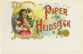 """Antique Stone Lithography:Cigar Label Art, Piper Heidsieck Cigar Label. Full color lithographed 9.25"""" x 6"""" inner label with gold-embossed prize medals and deco..."""