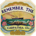"Antique Stone Lithography:Cigar Label Art, Remember the Carpathia 10¢ Cigar Label. A printed 4.5"" x4.5"" outer label that matches the design of the inner label..."