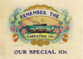 "Antique Stone Lithography:Cigar Label Art, Remember the Carpathia 10¢ Cigar Label by F. M. Howell &Co, of Elmira, New York. A printed 8.5"" x 6.25"" inner label..."