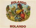 "Antique Stone Lithography:Cigar Label Art, Rolando Cigar Label. Full color lithographed 8.5"" x 6.5"" inner label with gold-embossed border and design elements. ..."