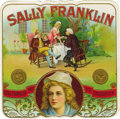 "Antique Stone Lithography:Cigar Label Art, Sally Franklin Cigar Label Showing Benjamin Franklin. Fullcolor lithographed 4.5"" x 4.5"" outer label with gold-embo..."