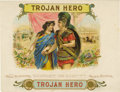 "Antique Stone Lithography:Cigar Label Art, Trojan Hero Sample Cigar Label by George Schlegel, New York.Full color lithographed 8"" x 6"" inner label. A slightly..."