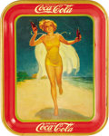 "Advertising:Soda Items, 1937 Beach Girl Coca-Cola Tray, 10.5"" x 13.25"", American Art Works,Coshocton, Ohio. A caped and possibly caffinated blonde ..."