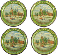 Los Angeles Brewing Co. Tin Tip Trays This lot includes four pre- prohibition tip trays picturing the factory of the Los...