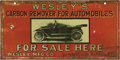 "Advertising:Signs, Early Automobile Product Tin Sign, 10"" x 5"", Rochester, New York.This great point-of-purchase advertisement promotes ""Wesle..."