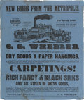 Advertising:Paper Items, Outstanding Large 1847-Dated Wheeler's Business AdvertisingBroadside, Featuring Early Steam Locomotive. It pictures a trai...