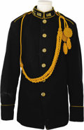 Military & Patriotic:WWI, M1902 7th Cavalry Dress Tunic, dark blue wool with gold piping onsleeves and shoulder tabs, six M1902 eagle coat buttons wi...