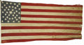 Antiques:Decorative Americana, Large 38 Star U.S. Flag Circa 1877-1890. A 12' x 6' flag with 38muslin stars hand sewn to the canton in a concentric design...