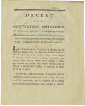 """Miscellaneous:Booklets, French Revolutionary Imprint, DECRET DE LA CONVENTION NATIONALE, 2pp., 7.5"""" x 9.5"""", November 23, 1792. Numbered """"99"""", this ..."""
