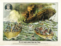 "Antiques:Posters & Prints, 1912 Large Color Lithograph of the Sinking of the Titanic entitled (in dubious English) ""The Last Tragical moment Ocean line..."