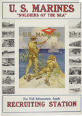 "Military & Patriotic:WWI, Vintage Marine Corps Recruiting Poster ""Soldiers of the Sea"".26.75"" x 37.75"", framed under glass to an overall size of 36.7..."