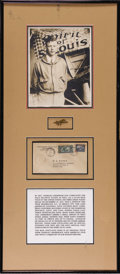 "Transportation:Aviation, 1928 Lindbergh Spirit of St. Louis Carried Envelope. Anattractively displayed group which includes an 8"" x 10"" black andwh..."