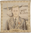 "Transportation:Aviation, Circa 1929 Charles Lindbergh Tapestry. A 19.5"" x 20"" tapestry witha central portrait of Lindbergh wearing his French Legion..."