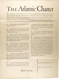 """Antiques:Posters & Prints, Rare Atlantic Charter Broadside by U.S. Government Printing Office.One page, 28.5"""" x 40"""", Washington D.C., August 14, 1941...."""