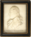"Antiques:Decorative Americana, George Washington Wax Panel Signed ""G. Rouse"", 8"" x 10"" sight sizein 10.75"" x 12.5"" shadow frame. A magnificent and complet..."