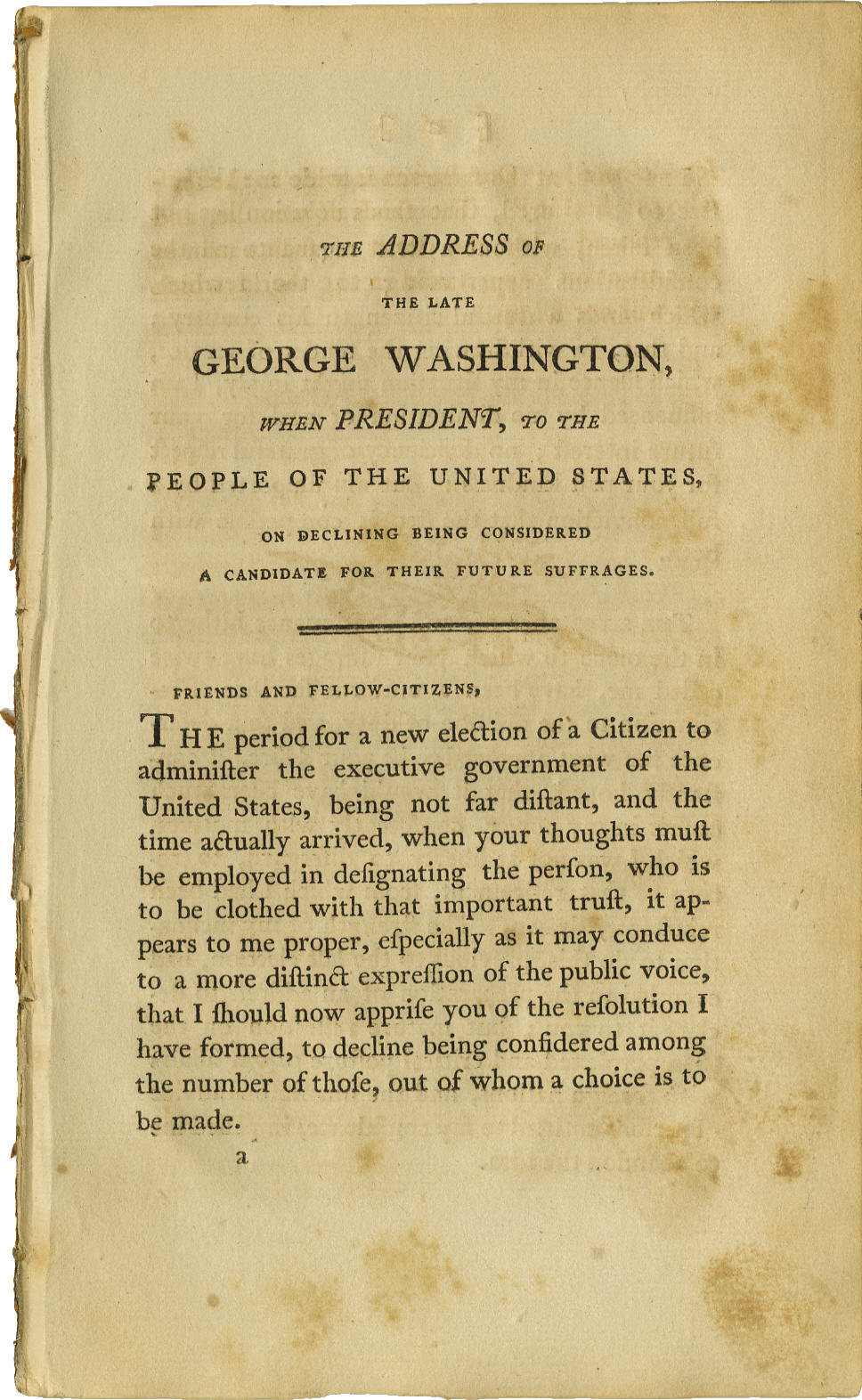 "Early Imprint of George Washington's ""Farewell Address"" Booklet, 