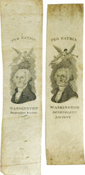 Political:Small Paper (pre-1896), George Washington: Two Different Early Federalist Party Ribbons. Among the earliest of political badges, these were worn by ... (Total: 2 )