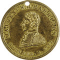 Political:Tokens & Medals, William Henry Harrison Brass Token, 24mm, 1841. The obverse has a typically crude left-facing bust of Harrison and a log cab...