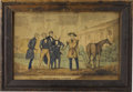 "Political:Posters & Broadsides (1896-present), William Henry Harrison: A Rare Large Hand-Colored Political Print. Titled ""The North Bend Farmer and his Visitors"", this pri..."