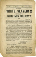"Political:Small Paper (pre-1896), Incredible Anti-Harrison Tract from 1840 Presidential Election. Booklet, ""White Slavery!! Or Selling White Men For Debt!"", f..."
