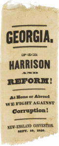 """Political:Ribbons & Badges, Georgia William Henry Harrison Ribbon, 3"""" x 6.75"""", white silk, imprinted """"Georgia. For Harrison and Reform! At Home or Abroa..."""